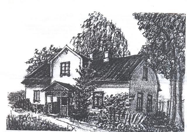 Najstarszy dom w Nowej Wsi wybudowany w 1901 roku – rys. Tadeusz Stachowicz